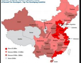 Comparacion del PIB de las regiones de China